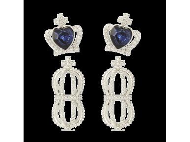 One pair of Clear Crystal Crown-shaped Earrings and one pair of Clear and Blue Crystal Crown-shaped Earrings